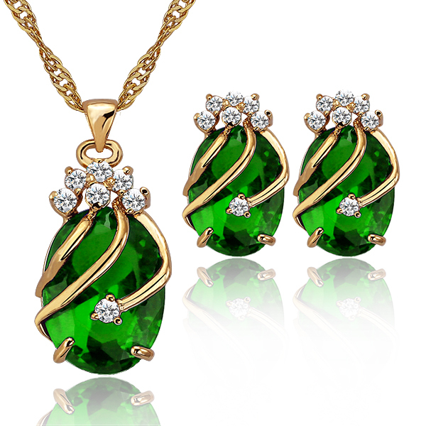 Red Green Crystal Jewelry Sets Women Dubai Gold Color Jewelry Set Bridal Jewelry  Set Wedding Jewellery Necklace Set e997a65dd2f4