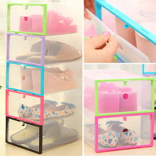 Transparent Clear Plastic Stackable Shoe Box Case Home Storage Container Office Organiser