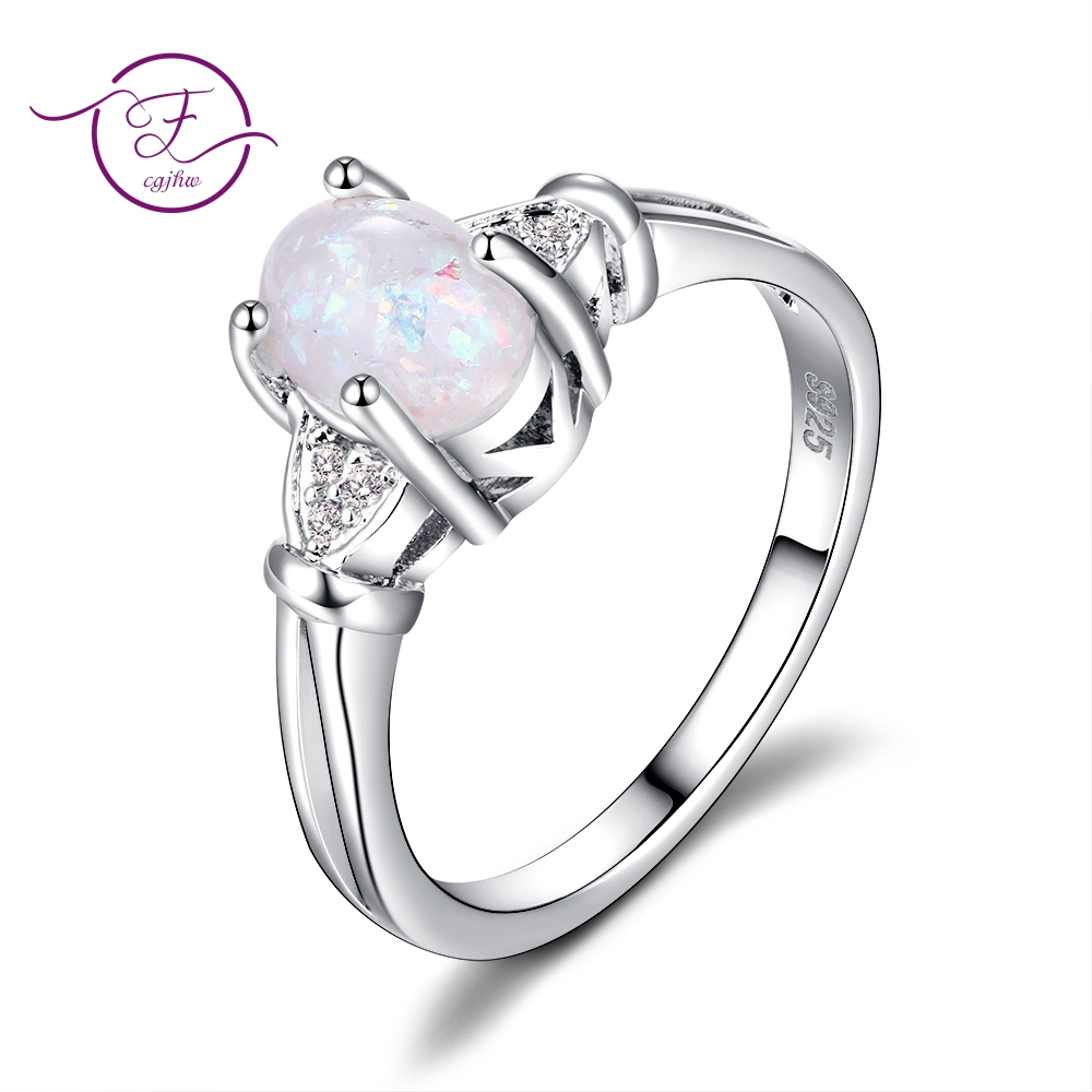 High Quality 6X8MM Oval Opal Rings Wholesale Rings For Girl Women's Fine Jewelry New Trendy 2018 Party Ring On Sale