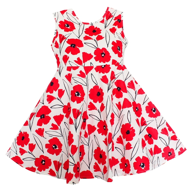7e7b60fa5a0 Shybobbi New Summer Girls Dress Red Floral Cotton Sundress Party Pageant Casual  Baby Kids Clothing Size 2-12