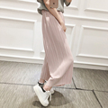 2017 New Spring Korean high waist pleated loose women's casual pants nine points was thin chiffon wide leg pants trousers 6781