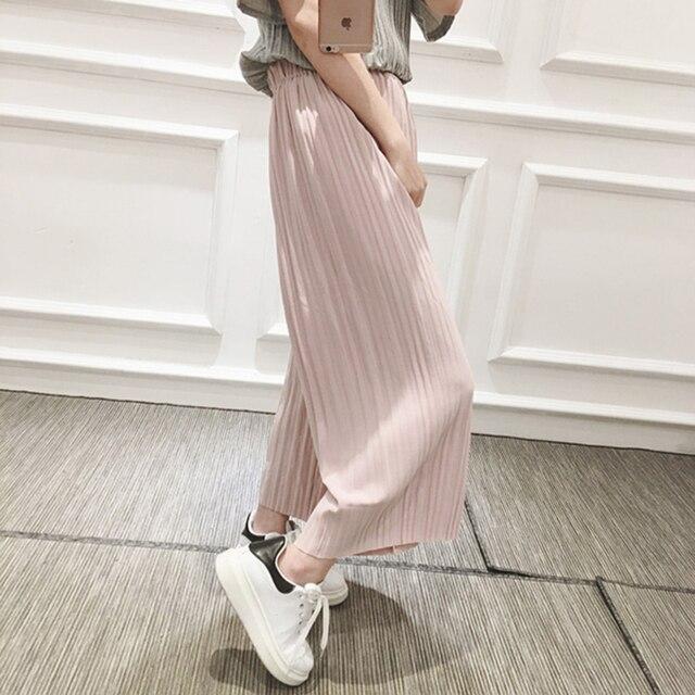 2017 Nueva Primavera de Corea de la alta cintura plisada ocasional de las mujeres flojas pantalones nueve puntos era fina gasa pantalones anchos de la pierna pantalones 6781