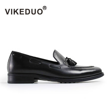 VIKEDUO Italian designer leather sole manual brush color design and high quality leather shoes fashion brand shoes soft man apar