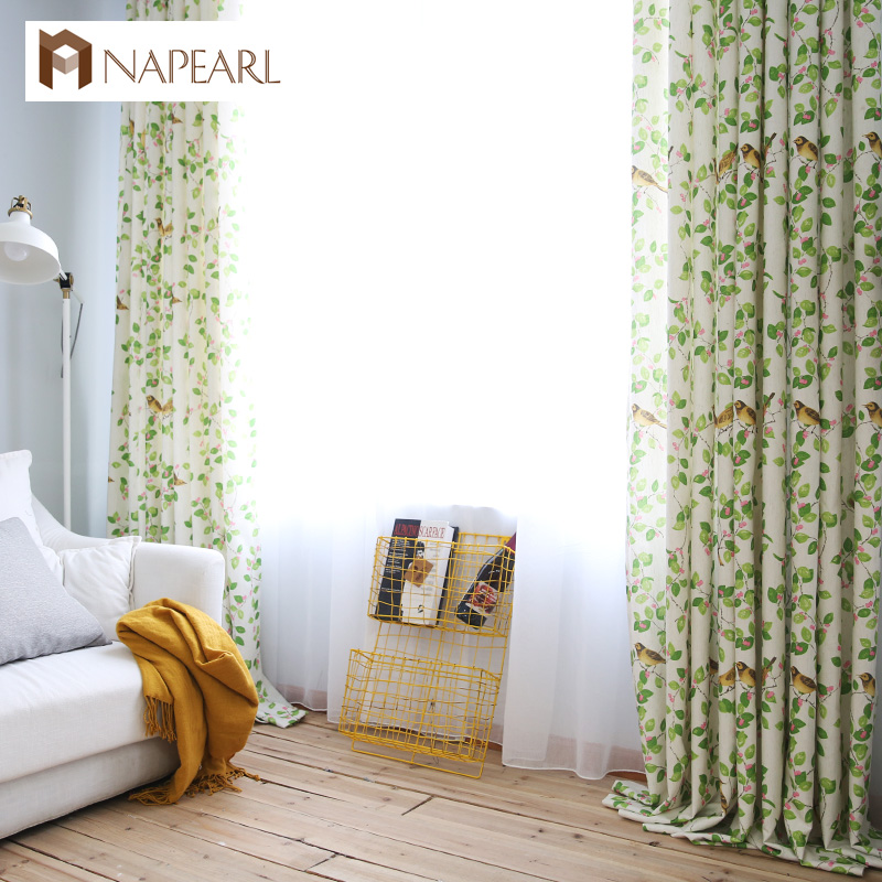 Modern curtains spring green living room bedroom curtains for Kid curtains window treatments