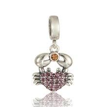 Crystal cáncer cangrejo colgante de corazón beads fit pandora charms pulseras de joyería fina de plata 925 original bijouterie para las mujeres regalos