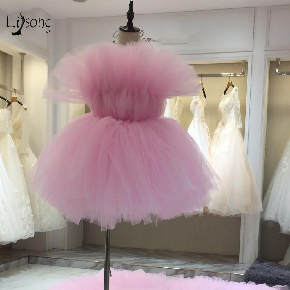 Blush Pink 2019 Fashion Tutu Short Cocktail Dresses Ruffles Mini Sweet Party Dresses Robe De Cocktail Tutu Homecoming Dress
