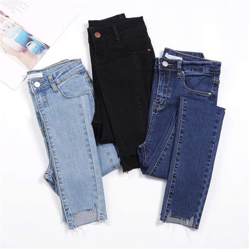 2019 New Spring Korean   Jeans   For Women High Waist Pockets Pencil Pants   Jeans   black blue Boyfriend Denim Pants