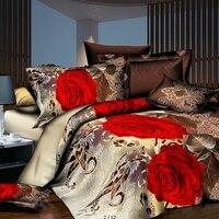 Home Textile 3D Rose Flowers Printing Bedding Set 2/3pcs Quilt Duvet Cover Pillowcases Bed Linen Bedroom Decorations Bedclothes