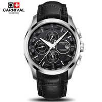 Automatische mechanische schweiz marke männer armbanduhren mode luxus lederband uhr wasserdichte 100M uhr relogio reloj
