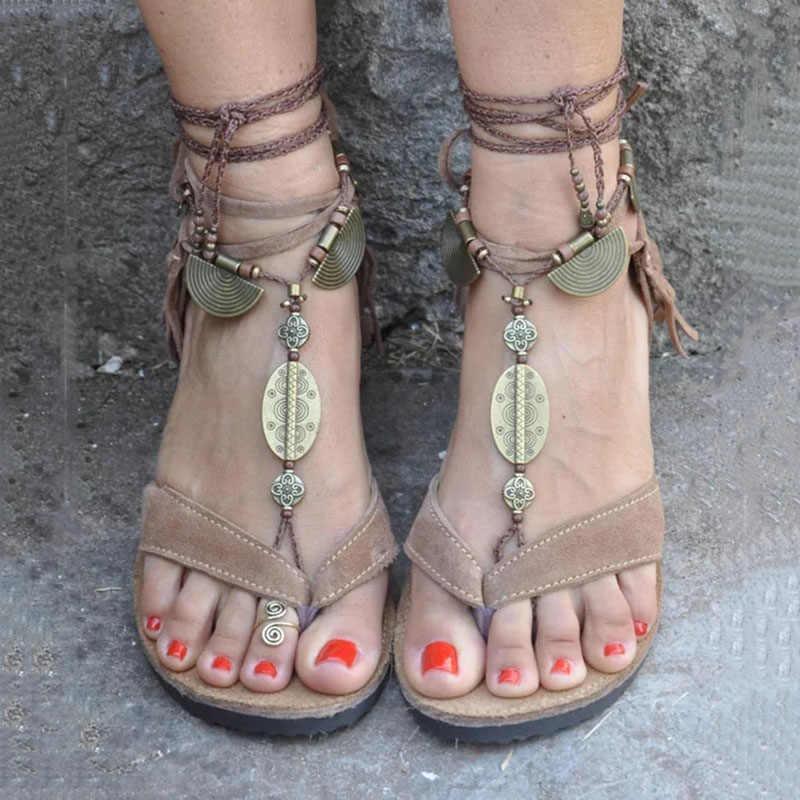 f63f8b0c7 Women Sandals Lace Up Fringe Hippie Suede Tassels Gladiator Sandals Women  Casual Summer Shoes Female Flat