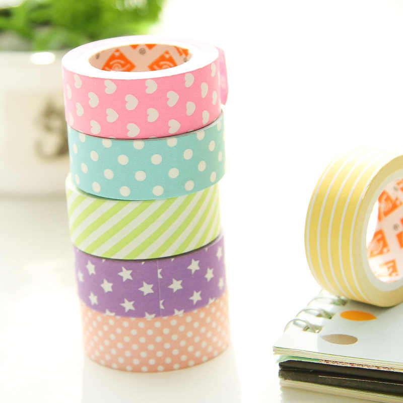 6 pcs/Lot Decorative Scotch paper tape Color star Rose heart dots 15mm*5m masking tapes Adhesive stickers stationery FJ944