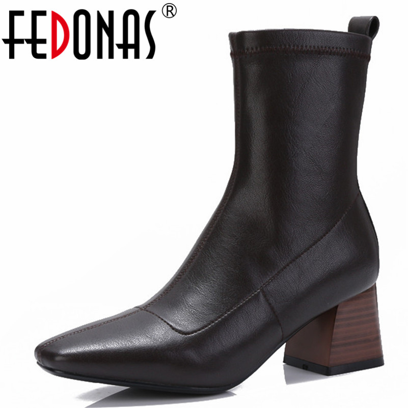 FEDONAS Fashion Brand Women Black Ankle Boots High Heels Stretch Boots Female Autumn Winter New Warm Ladies Shoes WomanFEDONAS Fashion Brand Women Black Ankle Boots High Heels Stretch Boots Female Autumn Winter New Warm Ladies Shoes Woman