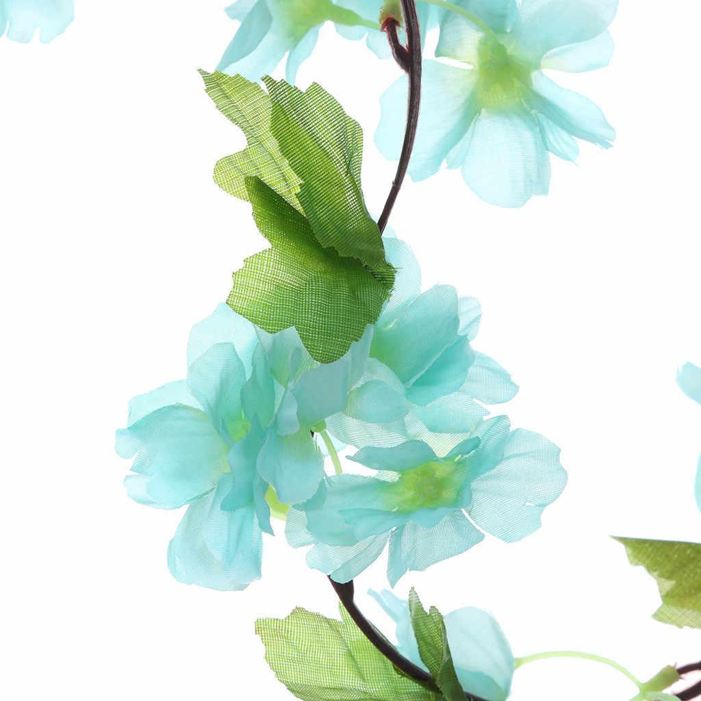 Flores de cerezo artificiales, flores, vides, suministros para fiestas, guirnalda de flores de ratán de cerezas falsas de seda, decoración del hogar de la boda z0613 # G30
