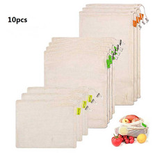10pcs/Set Degradable Organic Cotton Mesh Bag Vegetable Cotton Mesh Bag Fruit Mesh Bag for Home Kitchen Tool High Quality