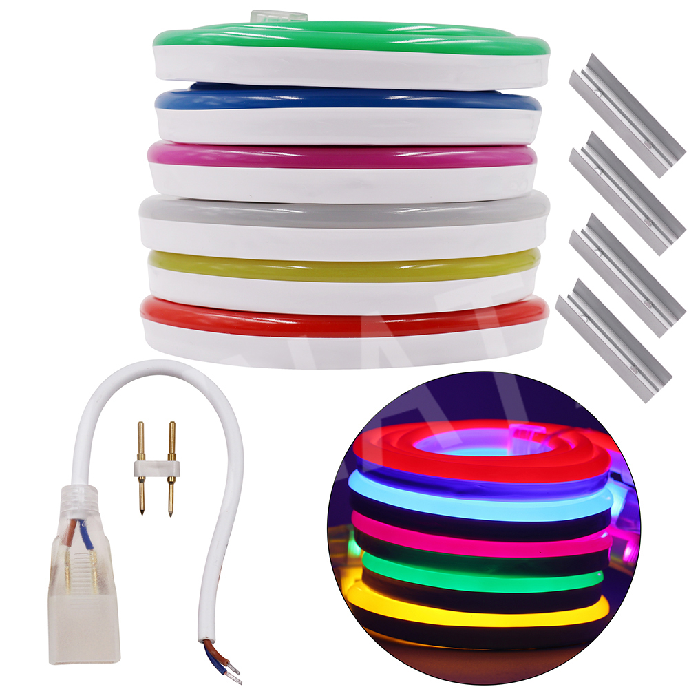 все цены на 1M 2M 5M 10M 20M Flex LED Neon Light SMD 2835 120leds/M LED Neon Strip Light Waterproof IP68 2.5CM Cuttable LED Lighting DC12V онлайн