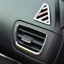 6 шт./компл. стайлинга автомобилей, ABS Хромовая автомобильная пленка, устанавливаемое на вентиляционное отверстие в салоне автомобиля накладка украшения рама подходит для KIA RIO K2 2011-, автомобильные аксессуары