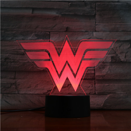 Dc Justice League Wonder Woman Logo Usb 3d Led Night Light Cartoon Superhero Boys Child Kids Birthday Gifts Table Lamp Bedside
