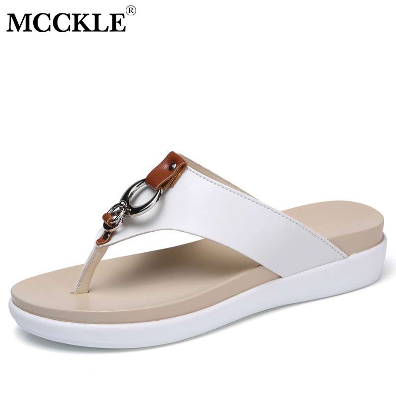 MCCKLE/Женские Вьетнамки плюс Размеры на платформе летние женские тапочки круг Кожа Повседневное женские туфли на танкетке обувь
