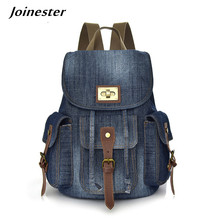 Denim Backpack Women Mochilas Bagpack Ladies Casual Vintage Travel Bag Girls School Bags Anti-theft Rucksack for Woman