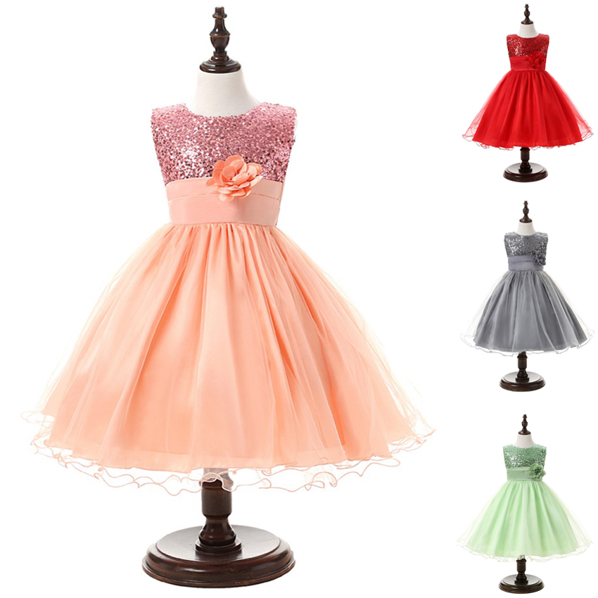 2016 New Flower Girls Summer Dresses Elegant Sleeveles Kids Clothes Tutu Girl Dresses for Wedding and Party Girl Costume