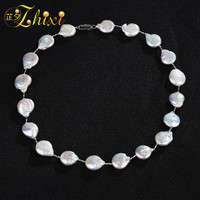 ZHIXI Pearl Necklace Fine Pearl Jewelry Trendy Max Baroque Pearl Necklace Pearl Choker For Party X204