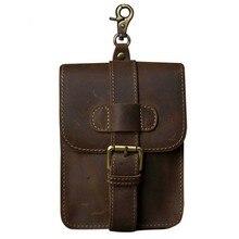 Retro Crazy Horse Genuine Leather Mens Waist Bag Travel Fanny Pack Belt Loops Hip Bum Bag Wallet Purses Phone Pouch