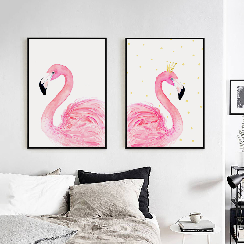 Nordic Watercolor Crown Flamingo Canvas Art Painting Print Posters ...