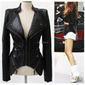 Supper ~ Women Spliced Snake Pattern Shrug Shoulder Pads Double Lapels Zipper Exposed Asymmetric Faux Leather Biker Jacket Coat