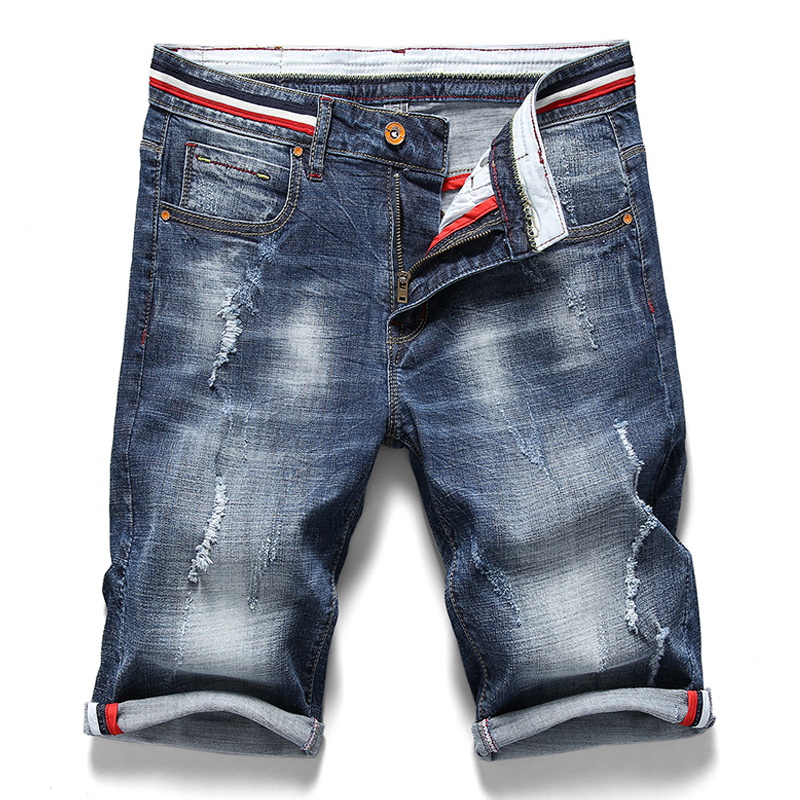 2020 Summer New Men's Denim Shorts Fashion Slim Fit Elastic Cotton Blue Wash Ripped Jeans Male Brand Clothes
