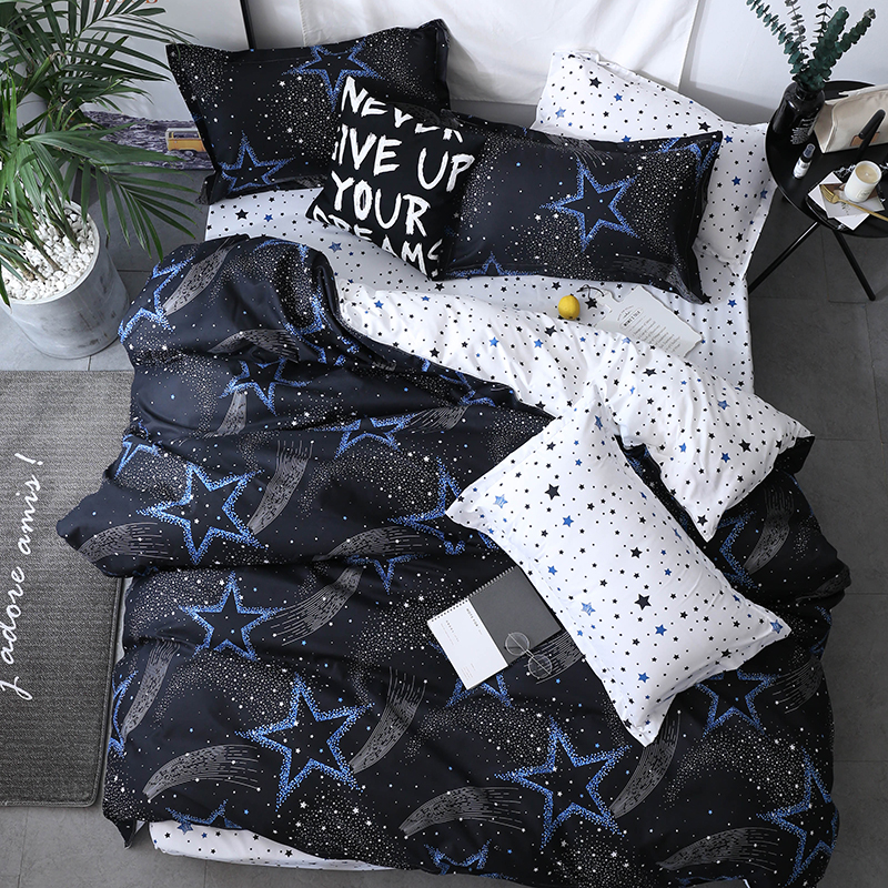 Black star Bed Linens High Quality 3/4pcs Bedding Set duvet Cover+Flat sheet+pillowcase soft comefortable Single 3pcs queen king(China)