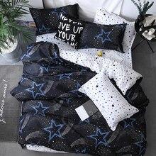 Estrela preta roupa de cama alta qualidade 3/4 pçs conjunto cama capa edredon folha plana fronha gêmeo macio única rainha completa rei