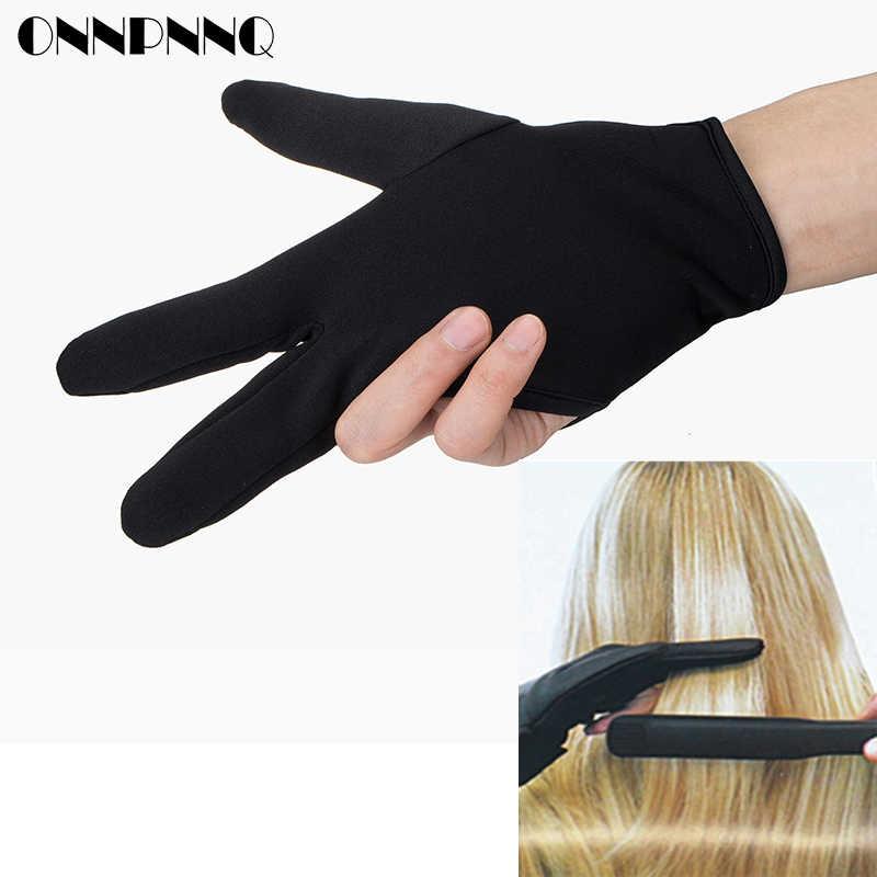 قفاز لتصفيف الشعر مزود بثلاثة أصابع مضاد للحرارة حديد مسطح ومقاوم للحرارة واستقامة الشعر والقفازات المنزلية لتصفيف الشعر