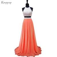 Dài Prom Dresses 2017 Scoop Đường Viền Cổ Không Tay Đính Cườm Ngọc Trai Phi Orange Backless Hai Mảnh Prom Dress