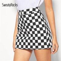 bb95c84b76 SweatyRocks O Ring Zip Fly Checkered Mini Skirt Streetwear Casual Sheath Gingham  Skirts 2019 Summer Fashion