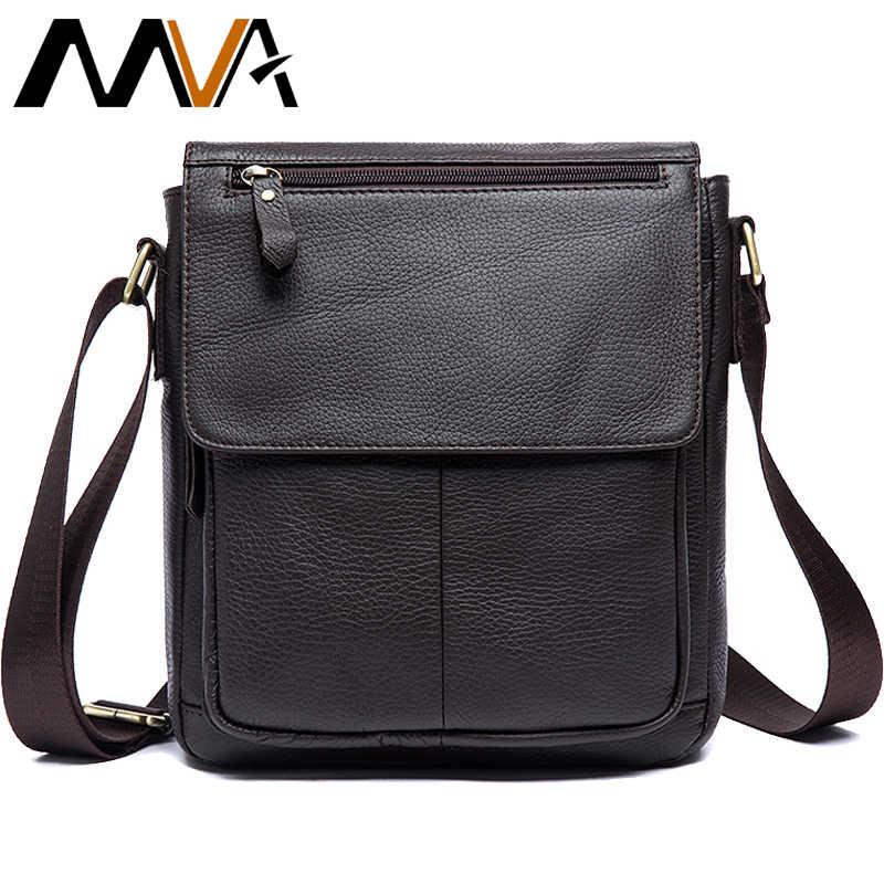 2a2d584434 MVA Men s Shoulder strap male Bag Messenger men s genuine leather Casual  Business Traveling Crossbody Small Flap