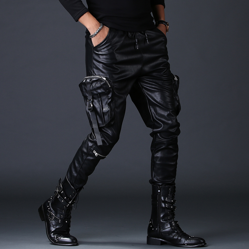 men's luxury fashion fake zippers faux leather pants cargo harem PU leather pant young handsome slim fit motorcycle trousers man