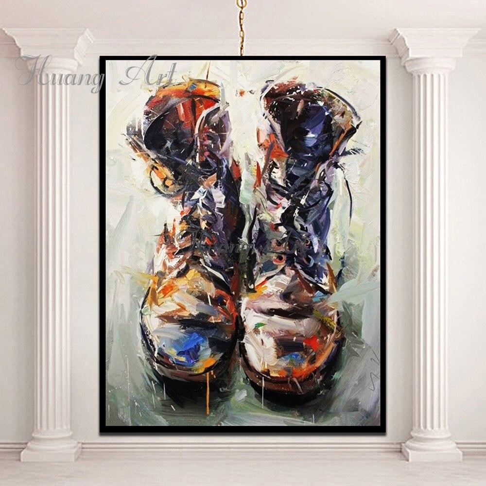 Botas sapatos pintados à mão pinturas a