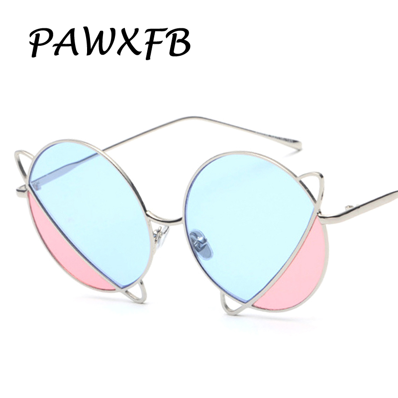 Pop Age 2018 New Double color Round Sunglasses Women Men Clear Blue Green Yellow Pink Sun Glasses Eyewear Lentes de sol Shades