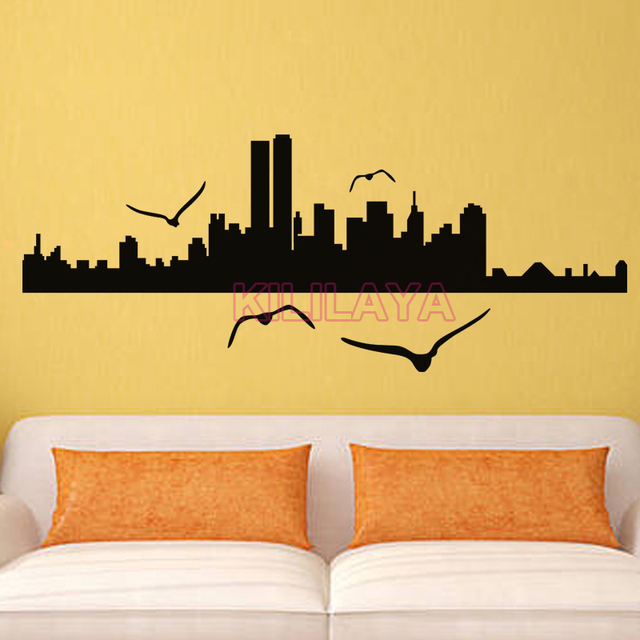 Black Wall Stickers New York City Seagull Silhouette Vinyl Wall ...