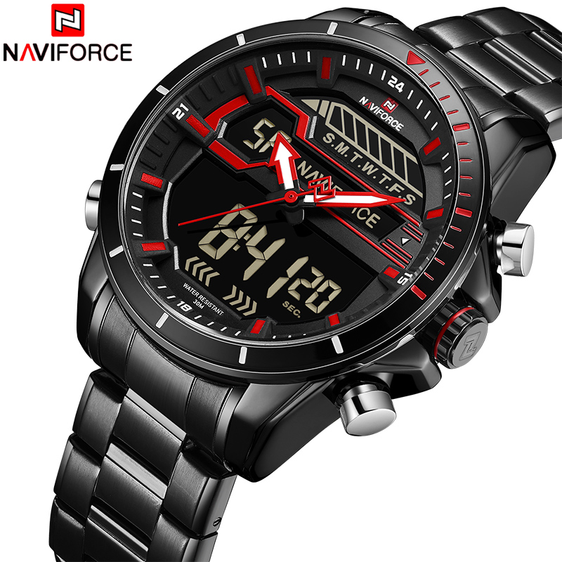 2018 New Men Sport Watch NAVIFORCE Man Army Waterproof Quartz Wrist Watches Male Full Steel LED Digital Clock Relogio Masculino naviforce men s military sports watches men led digital watch waterproof full steel quartz watches man clock relogio masculino