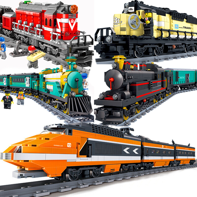 Compatible Legoeing City Electric Motor Train Station Sets Wagon Model Building Kits Rails Track Blocks Bricks Kids Toys