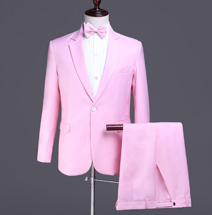 Blazer Men Groom Suit Set With Pants Mens Wedding Suits Costume Singer Star Style Dance Stage Clothing Formal Dress Pink Fashion