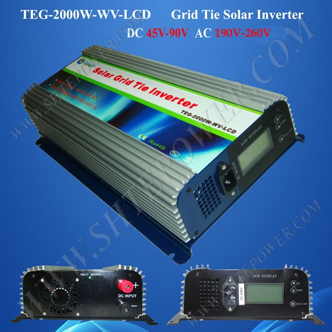 2014 new!! 2000W grid tie inverters, 2000w solar inverter (TEG-2000W-WV-LCD), wide dc input voltage 45-90v to ac 190-260v output 300w home solar inverters mppt function dc 22 60v to output ac can adjustable 90 130 or 190 260v