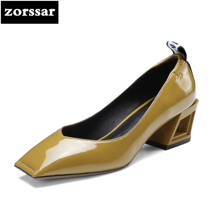 {Zorssar} 2018 New Patent leather womens Heels shoes Square toe thick heel Shallow high heels pumps women shoes big size 34-42 luxury brand crystal patent leather sandals women high heels thick heel women shoes with heels wedding shoes ladies silver pumps