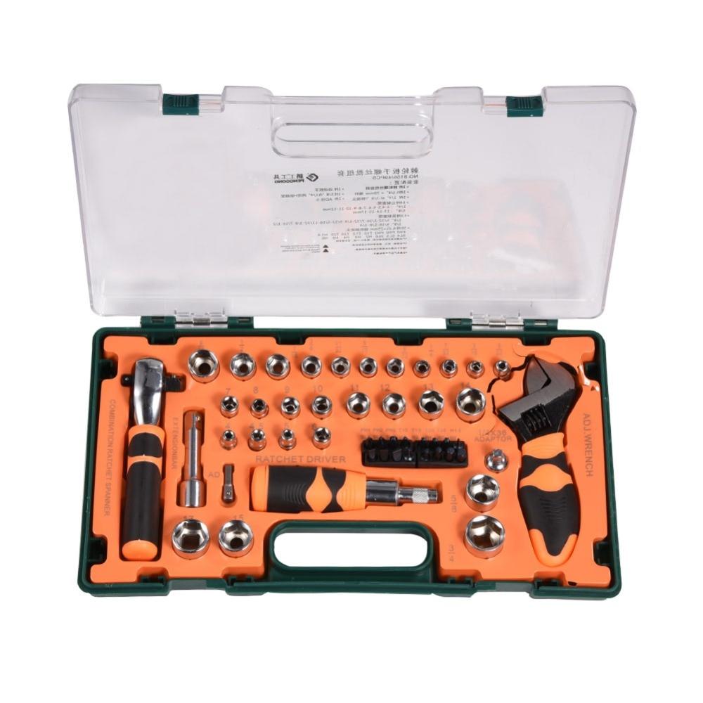 49 шт. набор инструментов домашний авторемонтный комплект гаечный ключ отвертка бит трещотка ремонтный комплект