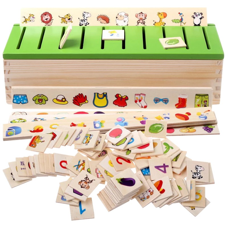 Montessori Children's educational toys wooden toys classified storage toy gifts for Girls Boys learning shipping from russia(China)