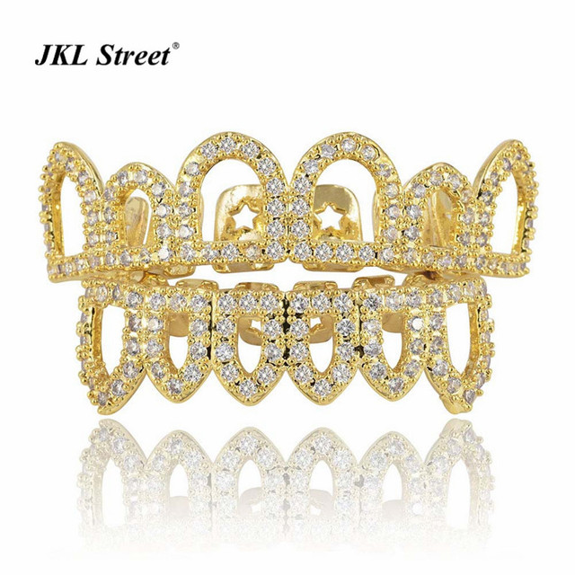 New Iced Out Hip Hop Gold Grillz Micro Pave CZ Hollow Top   Bottom Grills  Caps Open Face Mouth Teeth Grills Set For Men Women 9a0347d03
