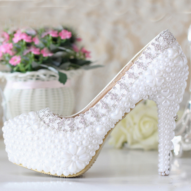 Zapatos de vestir de boda cuero genuino blanco de lujo del Rhinestone zapatos para novia zapatos para bola Wedding Party Prom Pageant evento