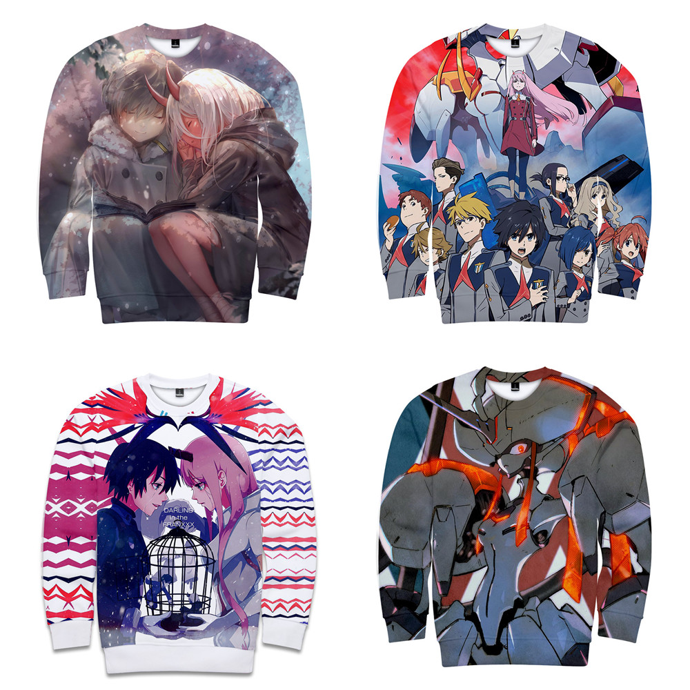 Anime darling in the franxx Costumes ZERO TWO Digital print 3D round neck vest Cosplay Fall Young boy girl fashion Sweatshirts