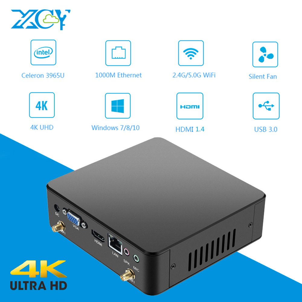 Мини PC Celeron 3965U 4 К HDMI VGA DDR3L USB3.0 Wi-Fi 8 ГБ Оперативная память 240 г SSD микро шт NUC Ультра компактный бесшумный Windows ПК Intel